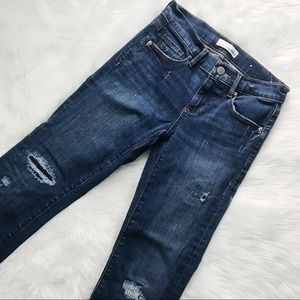 LOFT Distressed Raw Hem Modern Straight Jeans